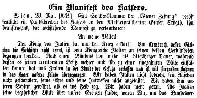 """Die Einleitungssätze des von der """"Bozner Zeitung"""" veröffentlichten Manifestes """"An meine Völker"""" von Kaiser Franz Josef"""