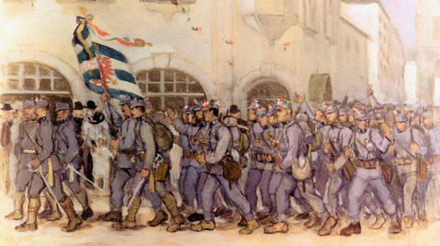 Auszug der Bozener Standschützen an die Front (Gemälde des Südtiroler Malers Albert Stolz, der mit den Bozener Standschützen an die Front oberhalb Riva del Garda gegangen war)