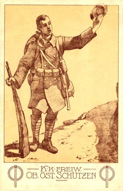 Kriegspostkarte der Freiwilligen OÖ Schützen